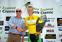 Trust House chief executive Allan Pollard and stage winner Nick Reddish. Stage One of the 2018 NZ Cycle Classic UCI Oceania Tour in Wairarapa, New Zealand on Wednesday, 17 January 2018. Photo: Dave Lintott / lintottphoto.co.nz