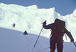 Alaska, Denali National Park, Back country skiers climbing the Southeast Buttress, Denali, Mount McKinley, Don Sheldon Amphitheater, Ruth Glacier,.