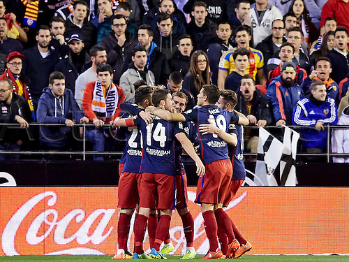 06.03.2016. Mestalla Stadium, Valencia, Spain. La Liga match between Valencia versus Atletico Madrid.  Forward Fernand Torres of Atletico Madrid celebrates with his team mates after scoring the second goal for his team