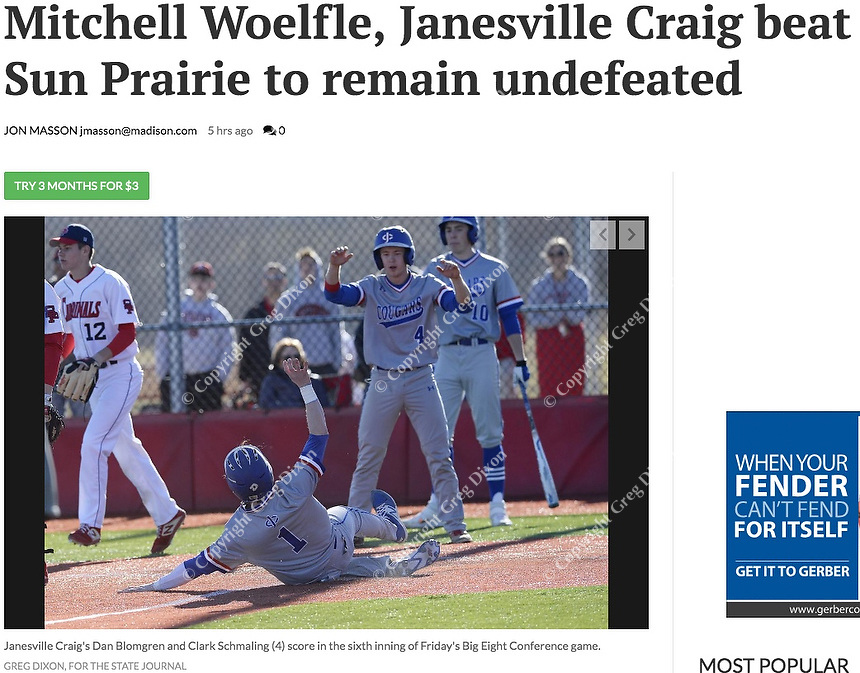 Janesville Craig's Dan Blomgren slides in safe in the sixth inning behind Clark Schmaling (4), as Janesville Craig tops Sun Prairie 6-2 in Wisconsin Big Eight Conference high school baseball on Friday, 4/19/19 at Sun Prairie High School | Wisconsin State Journal article front page Sports 4/20/19 and online at https://madison.com/sports/high-school/baseball/mitchell-woelfle-janesville-craig-beat-sun-prairie-to-remain-undefeated/article_cd641a2b-ed29-55fa-a633-f192a6ce3121.html