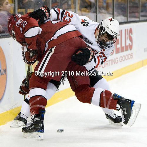 Brendan Rempel (Harvard - 42), Chris Donovan (NU - 23) - The Northeastern University Huskies defeated the Harvard University Crimson 4-1 (EN) on Monday, February 8, 2010, at the TD Garden in Boston, Massachusetts, in the 2010 Beanpot consolation game.