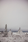 """Two traditional Saami tents, or Lavvu - typical of reindeer herding peoples - on the shore of the frozen lake Muddusjarvi, near Inari, Lapland, Finland. Taken at 3am with some moonlight, 30"""" exposure, December 2011."""
