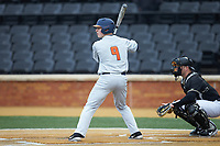 Jacob Campbell (9) of the Illinois Fighting Illini at bat against the Wake Forest Demon Deacons at David F. Couch Ballpark on February 16, 2019 in  Winston-Salem, North Carolina.  The Fighting Illini defeated the Demon Deacons 5-2. (Brian Westerholt/Four Seam Images)