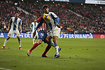 Atletico de Madrid's Angel Martin Correa and RCD Espanyol's Didac Vila during La Liga match between Atletico de Madrid and RCD Espanyol at Wanda Metropolitano Stadium in Madrid, Spain. December 22, 2018. (ALTERPHOTOS/A. Perez Meca)