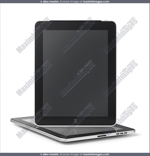 Two Apple iPad 3G tablet computers isolated on white background