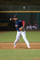 AZL Indians 2 third baseman Makesiondon Kelkboom (26) throws to first base during an Arizona League game against the AZL Dodgers at Goodyear Ballpark on July 12, 2018 in Goodyear, Arizona. The AZL Indians 2 defeated the AZL Dodgers 2-1. (Zachary Lucy/Four Seam Images)