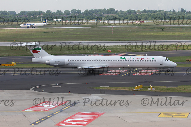 A Bulgarian Air Charter McDonnell Douglas MD-82 Registration LZ-LDS at Düsseldorf Airport on 28.5.16 going to Varna Airport.