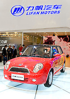 SHANGHAI, CHINA - April 20: China's Lifan automaker displays its 320 car, which looks like Mini Cooper, during Shanghai Motor Show on April 20, 2009 in Shanghai, China. Shanghai auto show opened Monday for the press and will be open April 24-28 for the public. China is the only major auto market still growing despite the global economic slowdown. U.S. and global auto makers see China as the place where they can find the sales they desperately lack in their home market. Chinese automakers see the opportunity to assess themselves as major players in the world market. (Photo by Lucas Schifres/Getty Images)