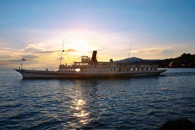ferry at sunset on Lac Leman (lake Geneva) - Montraux Switzerland