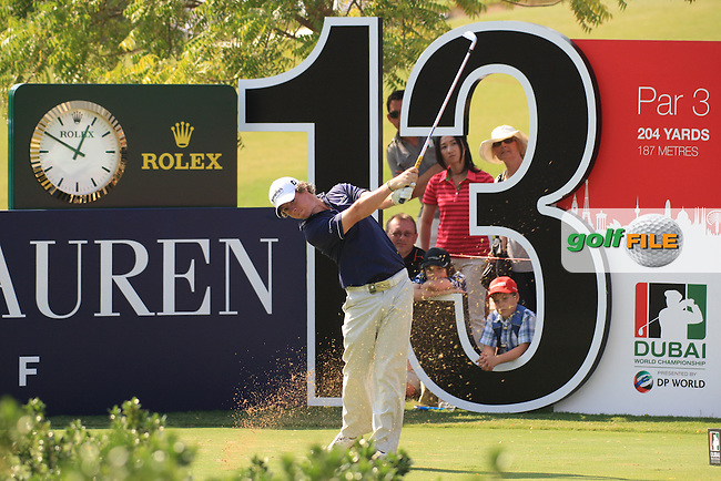 Rory McIlroy teeing off on the 13th  during the third round of the Dubai World Championship on the Earth Course at the Jumeirah Golf Estate, Dubai..Picture Fran Caffrey/www.golffile.ie.