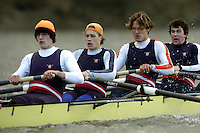 2005 Varsity Boat Race - Pre race fixtures - Putney, London., ENGLAND; left to right,  stroke. Josh Inman, 7. Gijs Vermeulen, 6. Sjoerd Hamburger, 5. Mark Flickinger, 4. Matt Hughes, Photo  Peter Spurrier. .email images@intersport-images...[Mandatory Credit Peter Spurrier/ Intersport Images] Varsity:Boat Race Rowing Course: River Thames, Championship course, Putney to Mortlake 4.25 Miles