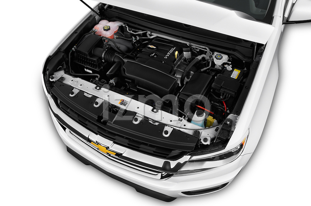 Car Stock 2016 Chevrolet Colorado Work-Truck-Crew 4 Door Pick-up Engine  high angle detail view