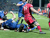 29th September 2017, RDS Arena, Dublin, Ireland; Guinness Pro14 Rugby, Leinster Rugby versus Edinburgh; Jamison Gibson-Park (Leinster) dives in to score a try