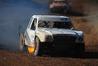Apr 16, 2011; Surprise, AZ USA; LOORRS driver Corey Sisler on fire during round 3 at Speedworld Off Road Park. Mandatory Credit: Mark J. Rebilas-.