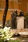 Garden at the Sorolla Museum in Madrid, Spain with fountains and statues.