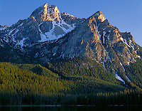Sawtooth National Recreation Area, Idaho<br /> Mt. McGown in evening light rises above Stanley Lake