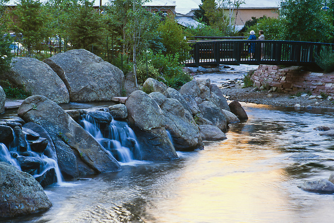 waterfalls, Fall River, Riverside Plaza, Riverwalk, Estes Park, Colorado