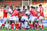 PICTURE BY ALEX WHITEHEAD/SWPIX.COM - Rugby League - Autumn International Series - Wales vs England - Glyndwr University Racecourse Stadium, Wrexham, Wales - 27/10/12 - England and Wales players clash.