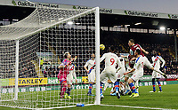 Burnley's Chris Wood has his late headed effort cleared off the line<br /> <br /> Photographer Rich Linley/CameraSport<br /> <br /> The Premier League - Burnley v Crystal Palace - Saturday 30th November 2019 - Turf Moor - Burnley<br /> <br /> World Copyright © 2019 CameraSport. All rights reserved. 43 Linden Ave. Countesthorpe. Leicester. England. LE8 5PG - Tel: +44 (0) 116 277 4147 - admin@camerasport.com - www.camerasport.com