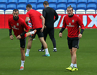 (L-R) Joe Ledley and Gareth Bale in action during the Wales Press Conference and Training Session at The Cardiff City Stadium, Cardiff, Wales, UK. Friday 01 September 2017