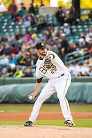 Nick Tropeano (25) of the Salt Lake Bees during the game against the Sacramento River Cats in Pacific Coast League action at Smith's Ballpark on April 17, 2015 in Salt Lake City, Utah.  (Stephen Smith/Four Seam Images)