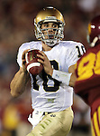 Los Angeles, CA 11/25/06 - Brady Quinn was under tremendous pressure during the first quarter of play against an intense USC defensive effort.<br />