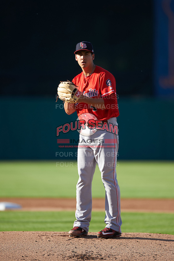 Louisville Bats starting pitcher Robert Stephenson (44) gets ready to deliver a pitch during a game against the Syracuse Chiefs on June 6, 2016 at NBT Bank Stadium in Syracuse, New York.  Syracuse defeated Louisville 3-1.  (Mike Janes/Four Seam Images)