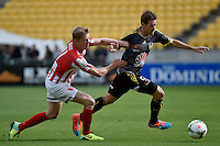 Nathan Burns and Damien Duff in action during the A League - Wellington Phoenix v Melbourne City at Westpac Stadium, Wellington, New Zealand on Sunday 30 November 2014.
