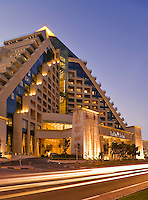 Dubai.  Raffles Hotel built on an Egyptian theme and adjacent to the Wafi Mall, a luxurious shopping centre/center.  Evening.........