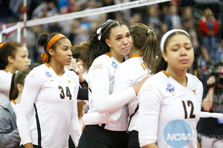 COLUMBUS, OH - DECEMBER 17:  Ebony Nwanebu (2) of the University of Texas reacts to the Longhorns loss against Stanford University during the Division I Women's Volleyball Championship held at Nationwide Arena on December 17, 2016 in Columbus, Ohio.  Stanford beat Texas 3-1 to win the national title.  (Photo by Jay LaPrete/NCAA Photos via Getty Images)