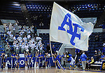 March 1, 2016 - Colorado Springs, Colorado, U.S. -   An Air Force cheerleader leads the Falcons onto the court prior to an NCAA basketball game between the Utah State University Aggies and the Air Force Academy Falcons at Clune Arena, United States Air Force Academy, Colorado Springs, Colorado.  Utah State defeats Air Force 78-65.