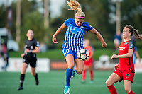 Boston, MA - Sunday September 10, 2017: Rosie White and Emily Sonnett during a regular season National Women's Soccer League (NWSL) match between the Boston Breakers and Portland Thorns FC at Jordan Field.