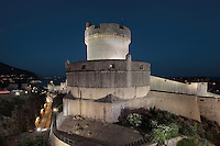 The Minceta Tower, designed by Nicifor Ranjina in the 14th century,  a defensive fortress on the North ramparts of Dubrovnik, Croatia. The city developed as an important port in the 15th and 16th centuries and has had a multicultural history, allied to the Romans, Ostrogoths, Byzantines, Ancona, Hungary and the Ottomans. In 1979 the city was listed as a UNESCO World Heritage Site. Picture by Manuel Cohen