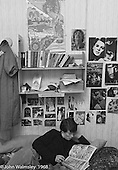 Wall displays in a kid's room, Summerhill school, Leiston, Suffolk, UK. 1968.