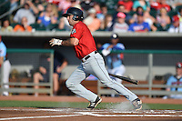 Birmingham Barons second baseman Dan Wagner #5 swings at a pitch during a game against the Tennessee Smokies at Smokies Park on May 31, 2014 in , Tennessee. The Barons defeated the Smokies 2-1. (Tony Farlow/Four Seam Images)