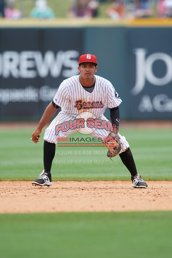 Birmingham Barons shortstop Cleuluis Rondon (7) during a game against the Jacksonville Jumbo Shrimp on April 24, 2017 at Regions Field in Birmingham, Alabama.  Jacksonville defeated Birmingham 4-1.  (Mike Janes/Four Seam Images)