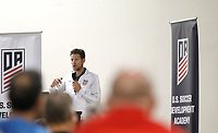 Oceanside, CA-Wednesday, June 19, 2019: US Soccer Coaches Ed Event at QLN conference center.  Jared Micklos speaks at the event.