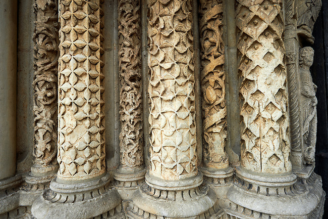 Gothic sculpted columns from the Cathedral of Chartres, France. . A UNESCO World Heritage Site. .