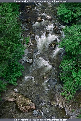 Koksilah river turbulent rapids view from above, Shawnigan Lake, Vancouver Island, British Columbia, Canada