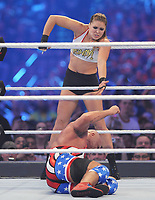 NEW ORLEANS, LA - APRIL 8: Ronda Rousey at WWE Wrestlemania 34 at the Mercedes-Benz Superdome in New Orleans, Louisiana on April 8, 2018. <br /> CAP/MPI/GN<br /> &copy;GN/MPI/Capital Pictures