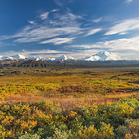 Mt McKinley and the Alaska range mountains, autumn tundra, Denali National Park, Alaska.