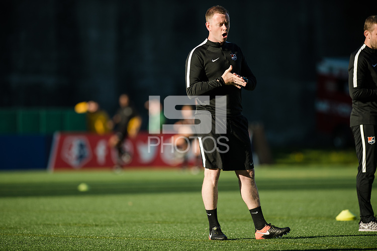 Seattle, WA - April 15th, 2017: Sky Blue FC head coach Christy Holly during a regular season National Women's Soccer League (NWSL) match between the Seattle Reign FC and Sky Blue FC at Memorial Stadium.
