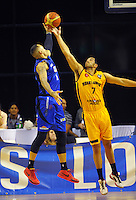 Leon Henry and Dyson King-Hawea compete for the ball during the national basketball league match between Wellington Saints and Taranaki Mountain Airs at TSB Bank Arena, Wellington, New Zealand on Friday, 17 April 2015. Photo: Dave Lintott / lintottphoto.co.nz