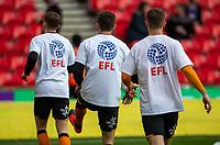 7th March 2020; Bet365 Stadium, Stoke, Staffordshire, England; English Championship Football, Stoke City versus Hull City; Hull City players warm up wearing Level Playing Field T-shirts