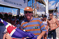 Kuta Beach, Bali, Indonesia. Team Australia attending the Quiksilver Grommet contest in 1995. Australian Team Coach Wayne 'Rabbit' Bartholomew (AUS) with David Rastovich (AUS) winner of the under 16 division. Photo: joliphotos.com