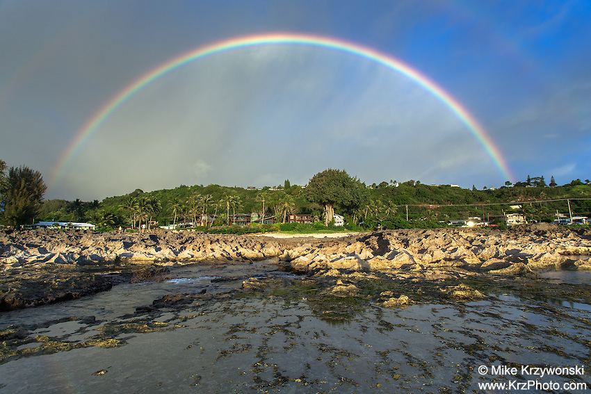 Double rainbow above Shark's Cove, North Shore, Oahu