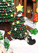 """Detail of  the traditional Gingerbread creation. """"Buddy"""" the dog and """"Socks"""" the cat  are part of the detail of the creation at the White House in Washington, D.C. on December 6, 1999. .Credit: Ron Sachs / CNP"""