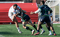 WASHINGTON, DC - FEBRUARY 16: Nakai Penny #7 of the Seattle Seawolves crashes into Dante Lopresti #2 of Old Glory DC during a game between Seattle Seawolves and Old Glory DC at Cardinal Stadium on February 16, 2020 in Washington, DC.
