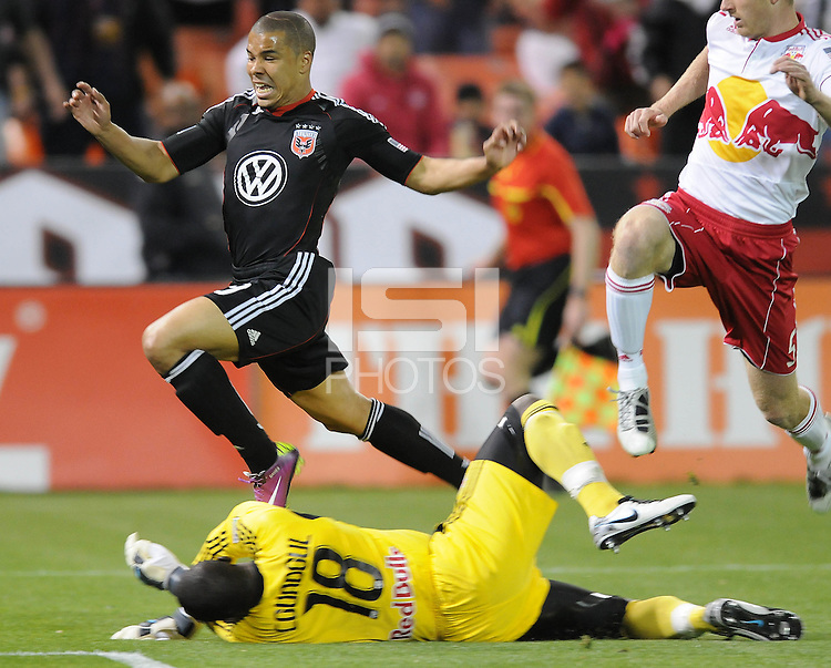 DC United forward Charlie Davies (9) goes against New York Red Bulls goalkeeper Bouna Coundoul (18)      The New York Red Bulls defeated DC United 4-0, at RFK Stadium, Saturday April 21, 2011.