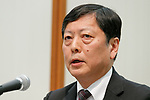 Susumu Nibuya Director of Idemitsu Kosan Co answers questions from the media during a news conference on May 9, 2017, Tokyo, Japan. The two oil distributors announced a business alliance to consolidate their refining and supply operations. Despite opposition from Idemitsu's founding family, the companies signed the agreement today and it will take immediate effect under the banner ''Brighter Energy Alliance.'' (Photo by Rodrigo Reyes Marin/AFLO)